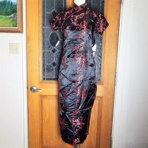 Chinese Flower Garden Qipao Cheongsam Dress S M